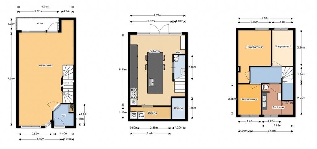 Inmeten en plattegronden for Plattegrond woning